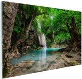 Erawan Waterval in jungle Thailand foto Glas 90x60 cm - Foto print op Glas (Plexiglas wanddecoratie)