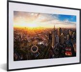 Foto in lijst - Panaroma van de Chinese stad Nanjing fotolijst zwart met witte passe-partout klein 40x30 cm - Poster in lijst (Wanddecoratie woonkamer / slaapkamer)