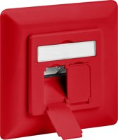 Goobay Netwerk wandcontact inbouwdoos - 2x RJ45 / CAT6a - rood