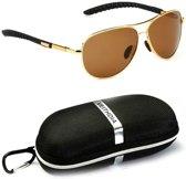 Veithdia Gold and Brown - Pilotenbril met UV400- en polarisatie filter - Z23