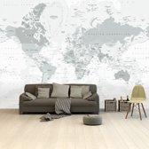 Wereldkaart op Behang - Grijs - 265x400 cm vinyl behang | Wereldkaart Behang