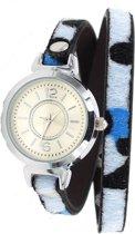Wikkelarmband met Horloge - Panterprint - Quartz - PU-imitatieleer - Kast 30mm - Blauw - Musthaves