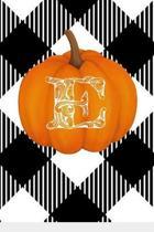 E: Cute Pumpkin Monogram Initial Letter E White Buffalo Plaid Check Personalized Gratitude Journal for Women and Girls