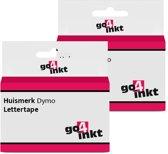 2x Go4inkt compatible met Dymo D1: 53719 24mm Zwart-Groen letter tape cassette