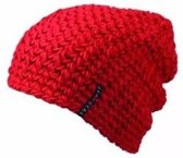 Basic beanie muts rood voor dames - wintermuts