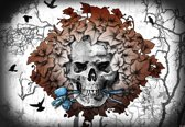 Fotobehang Alchemy Skull Flowers Tattoo | XXXL - 416cm x 254cm | 130g/m2 Vlies