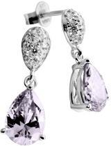 Diamonfire - Zilveren oorhangers Fancy Colors - Zirkonia - Pave - Druppel - Paars