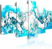 Schilderij - Orchidee in het blauw , wit , 5 luik