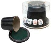 Pokerbeker Leder 9cm.+ Deksel+ Pokerstenen