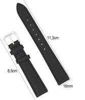 Horlogeband Kalfsleder - 16mm Aanzetmaat - Horlogebandje met Naad + Push Pin - Zwart - Sarzor