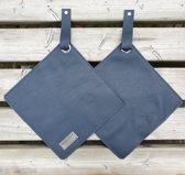 Toetie & Zo Handgemaakte leren Pannenlappen, set van 2 stuks, blauw, jeansblauw, donkerblauw, leder