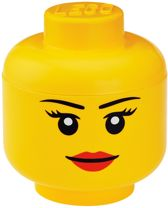 Lego Opbergbox - Head L - Girl - Geel
