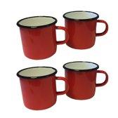 Emaille mok - rood met zwarte rand - 8 cm - 4 stuks
