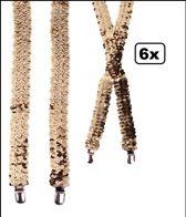 6x Bretel pailletten goud