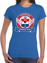 Blauw Toppers drinking team t-shirt dames XL