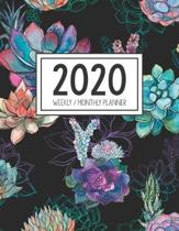 2020 Weekly Monthly Planner: Monthly Calendar - Weekly Organizer - Monday Start - Black Cover - January 2020 - December 2020