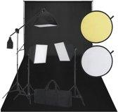Fotostudio set met zwart doek 3 daglichtlampen