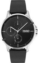 HUGO HU1530022 #FOCUS -  Polshorloge - Leer - Zwart - Ø 42 mm