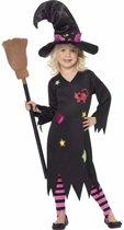 Halloween - Heksen verkleedkleding Rosa voor meisjes - Halloween kostuum/ outfit 130-143 (7-9 jaar)