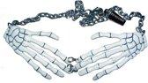 Witte skelet handen ketting voor volwassenen - Verkleedattribuut