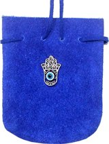 SUEDE POUCH ROUNDED WITH STRAP COBALT- FATIMA HAND 3.25 x 2