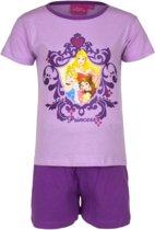 Kinderpyjama Disney (shortama) Prinsessen paars met paarse broek - 98
