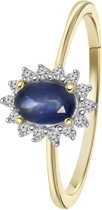 Lucardi - Diamond Luxury - 14 Karaat geelgouden ring saffier met diamant