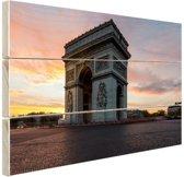 Arc de Triomphe bij zonsopkomst Hout 80x60 cm - Foto print op Hout (Wanddecoratie)