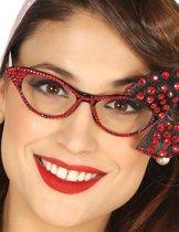 Jaren 50 bril met rode strik voor vrouwen - Verkleedattribuut