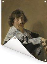 Portret van Nicolaes Hasselaer - Schilderij van Frans Hals Tuinposter 30x40 cm - klein - Tuindoek / Buitencanvas / Schilderijen voor buiten (tuin decoratie)
