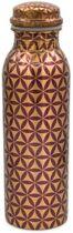 Yogi & Yogini naturals Koperen drinkfles bloem des levens paars geprint (750ml)