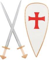 Kruisridderset schild en zwaarden voor kinderen - Verkleedattribuut
