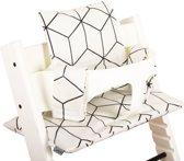 UKJE.NL Geplastificeerde kussenset kussen stoelverkleiner voor Stokke TrippTrapp - Witte blokken - Geplastificeerd ♥