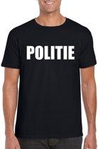 Politie tekst t-shirt zwart heren M