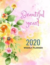 Beautiful year 2020 Weekly planner: 2020 weekly planner for women, girls .journal, calendar, daily activities, top priorities, victories, Look ahead i