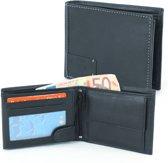 Heren Portemonnee - Billfold Portemonnee- 10 pasjes - Leer - RFID - Zwart