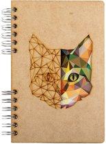 Houten notitieboek - A5 – Gelinieerd – Kat