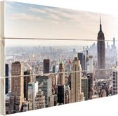 New York City Skyline Hout 160x120 cm - Foto print op Hout (Wanddecoratie) XXL / Groot formaat!