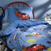 Trein kinder dekbedovertrek - Blauw - Junior (120x150 cm + 1 sloop)