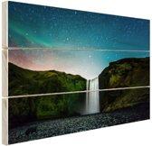 IJslandse waterval bij nacht Hout 160x120 cm - Foto print op Hout (Wanddecoratie) XXL / Groot formaat!