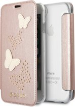 Guess Book Case Roze - Butterfly - Leer - iPhone 7-8  - Guess Classic Collection
