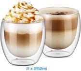 Dubbelwandig Glas Espressokopjes of Theeglas- 250 ml - 2 stuks