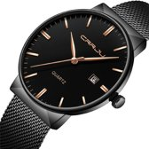 Quartz Watch Horloge - Casual Roestvrij Staal - Mode Heren & Vrouwen Horloge - Quick Release Bevestiging - Waterafstotend - Unisex - Cadeau Giftbox - Zwart Rose Design - Ø 40 mm – CRRJU