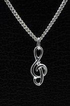 Zilveren Muzieksleutel ketting hanger - klein