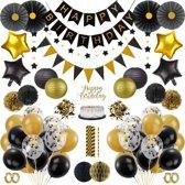 XXL Verjaardag Versiering Set - Ballonnen Man Vrouw - 16, 18, 30, 40, 50, 60 Jaar - Zwart en Goud