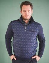 GCM heren sweater blauw gemeleerd - maat XL