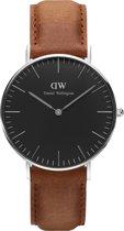 Daniel Wellington Classic Black Durham DW00100144 - Horloge - Leer - Bruin - Ø 36mm