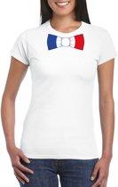 Wit t-shirt met Frankrijk vlag strikje dames 2XL