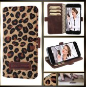 Echt Leer cover -  iPhone 6S Plus hoesje - Lederen Book Case Luipaard - WalletCase (Leopard)