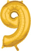 26 Number 9 Gold 26 Inch Foil Balloon P31 packed 43 x 66cm